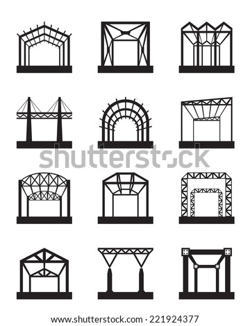 Metal structures icon set - vector illustration - stock vector