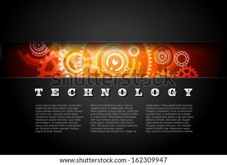 Metal Technology Panel With Glowing Gears vector - stock vector
