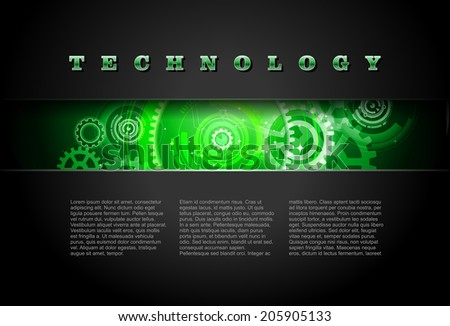 Metal Technology Panel With Green Glowing Gears vector - stock vector