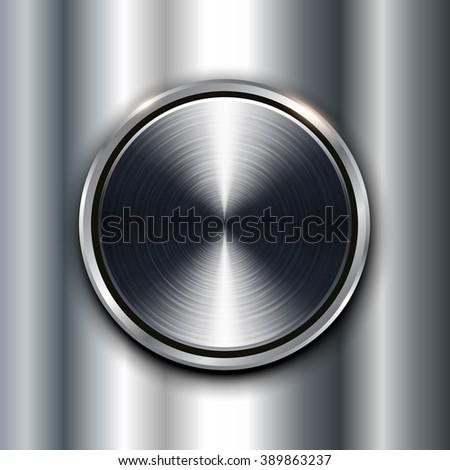 Metal texture background with metallic circular button. - stock vector