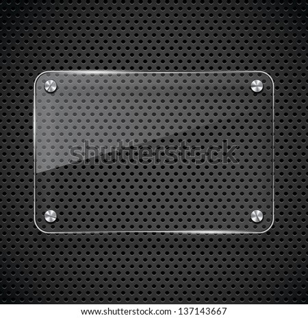 Metal texture with glass framework. Vector illustration - stock vector