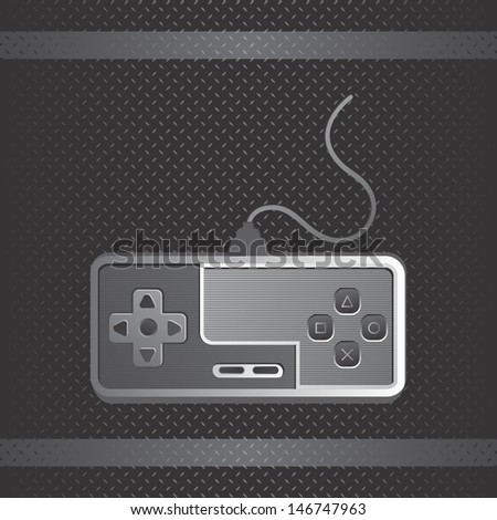 metal theme game console joystick art - stock vector