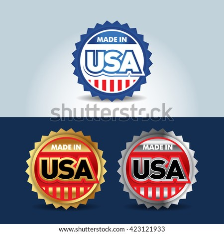 Metal USA and made in USA icons. Set of vector icons, labels, logos. Vote USA logo concept. - stock vector