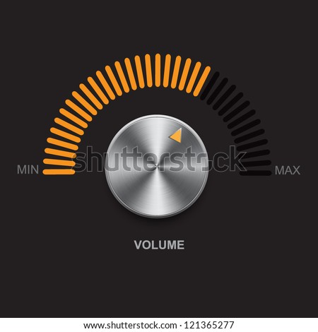 Metal volume button (steel, chrome), gold scale. Vector illustration. - stock vector