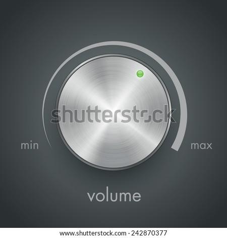 metal volume knob vector - stock vector