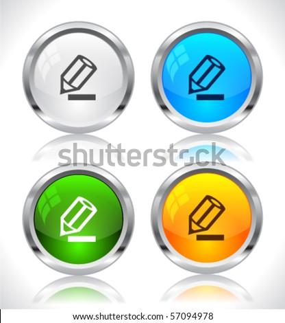 Metal web buttons. Vector eps10. - stock vector