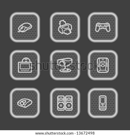 Metal web icons, set 21 - stock vector