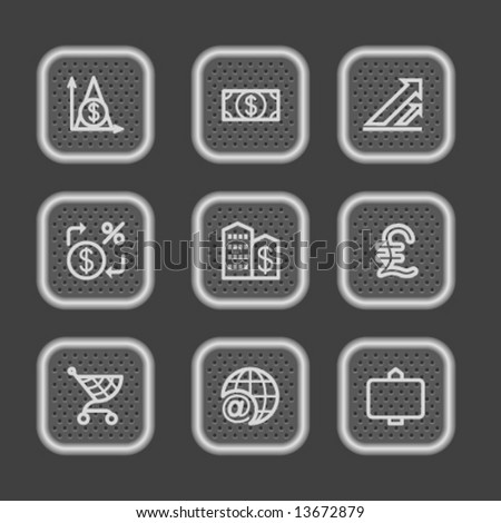 Metal web icons, set 23 - stock vector