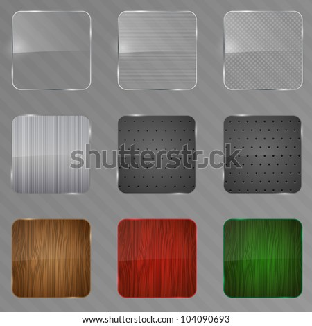 Metal, wood and glass framework set. Vector illustration. - stock vector