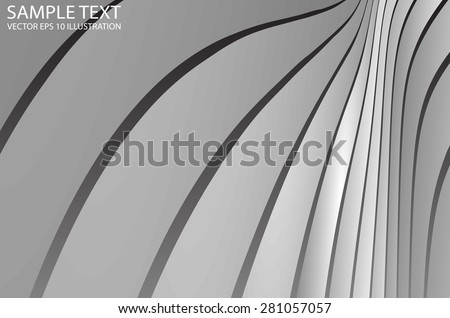 Metallic abstract vector curved background illustration - Abstract curved metal vector design template - stock vector
