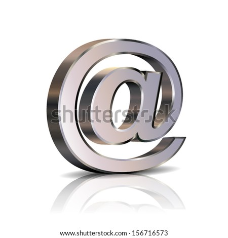 metallic at sign icon isolated reflex - stock vector