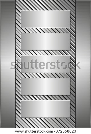 metallic background and five banners - stock vector