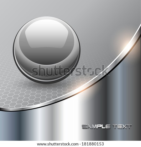 Metallic background with glass sphere, vector 3D illustration.. - stock vector
