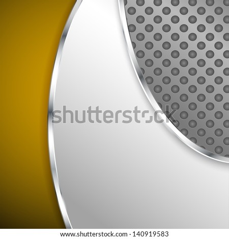 Metallic background with gold element - stock vector