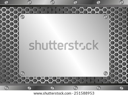 metallic background with iron plaque - stock vector