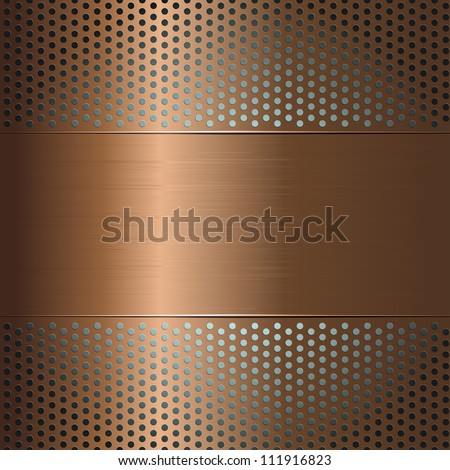 Metallic background with perforated grid - stock vector