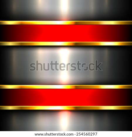 Metallic background with red glossy banners, vector illustration. - stock vector