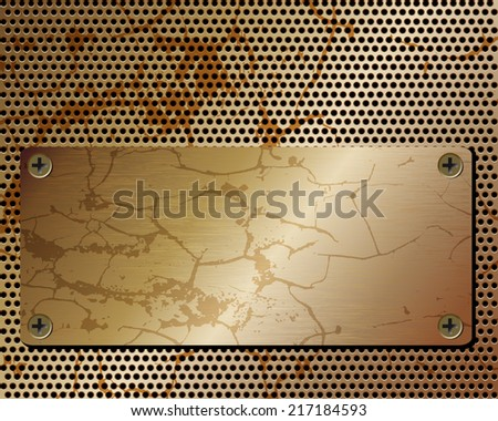 Metallic black background with grid and plate with screws - stock vector