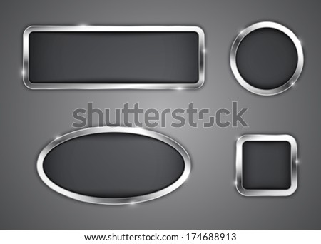 Metallic buttons. Icons. Vector illustration - stock vector
