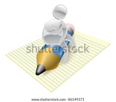 Metallic cartoon mascot character writer thinking concept - stock vector