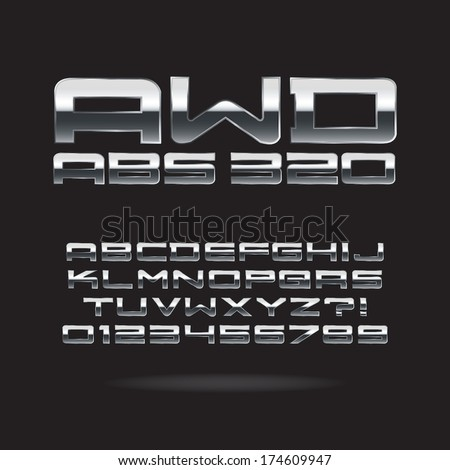 Metallic Chrome Font and Numbers, Eps 10 Vector, Editable for any background - stock vector