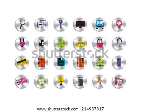 Metallic computer icons pack 2 - stock vector