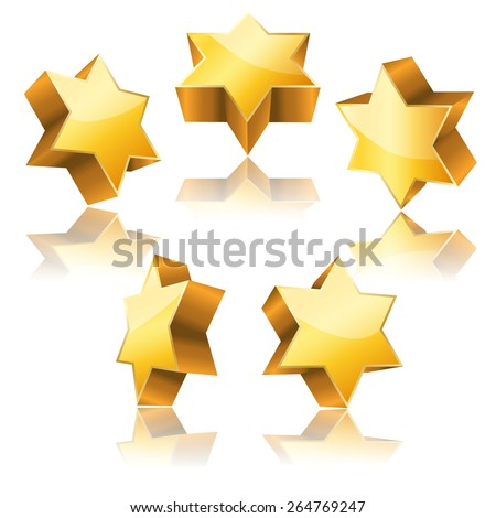 metallic 3d golden star of David with reflection set  - stock vector