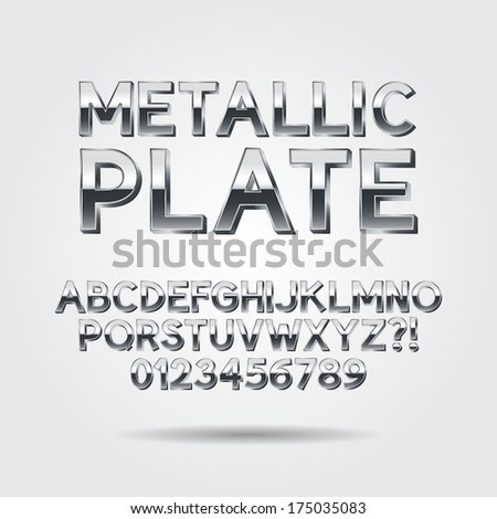 Metallic Font and Numbers, Eps 10 Vector, Editable for any background - stock vector