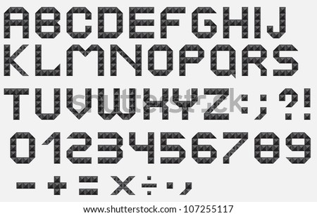Metallic fonts, signs and numbers vector illustration - stock vector