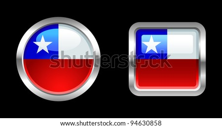 Metallic Glossy Flag series - Chile - stock vector