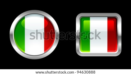 Metallic Glossy Flag series - Italy - stock vector