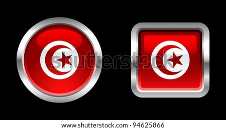 Metallic Glossy Flag series - Tunisia - stock vector