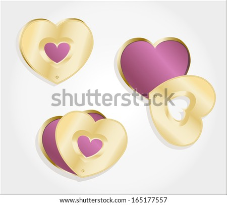 Metallic gold hearts locket on light grey background - stock vector