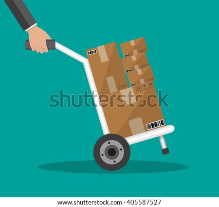 Metallic hand truck. delivery. hand truck icon. hand truck with brown boxes. vector illustration in flat design on green background - stock vector