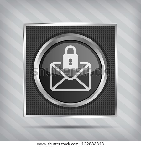 metallic icon with message and padlock on a striped background - stock vector