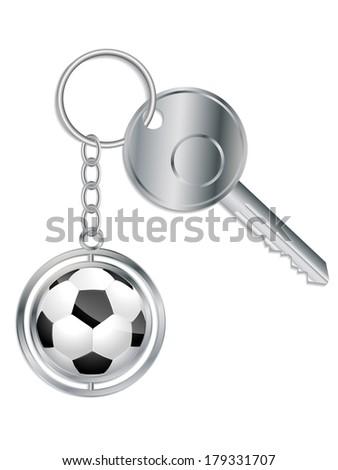 Metallic key with soccer ball keyholder on white - stock vector