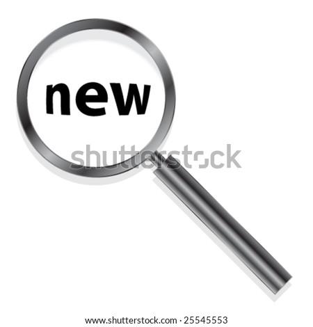 metallic magnifying glass - stock vector