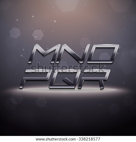 Metallic Movie Trailer Font from M to R - stock vector