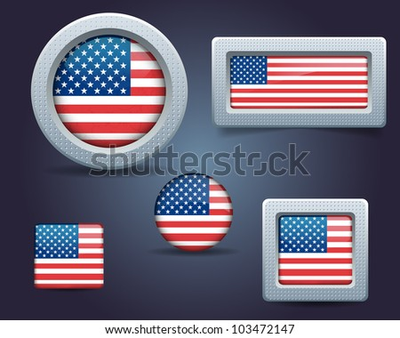 Metallic National flag set USA - stock vector