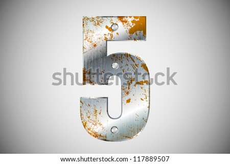 Metallic number 5 with rivets and screws - stock vector