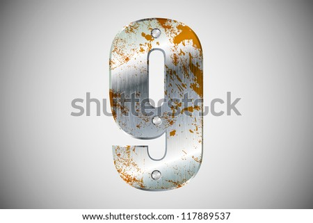 Metallic number 9 with rivets and screws - stock vector