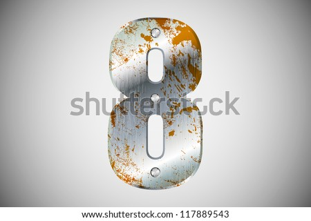 Metallic number 8 with rivets and screws - stock vector