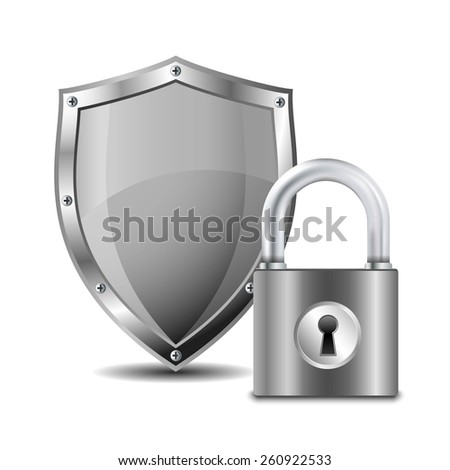 Metallic padlock and shield. Vector illustration - stock vector