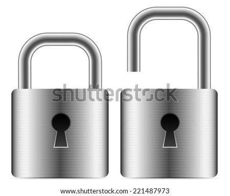 Metallic padlocks - open closed padlocks - stock vector
