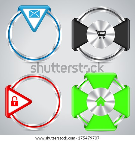 Metallic ring button set with various symbols - stock vector