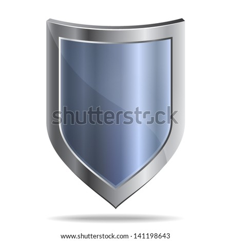 Metallic shield - icon isolated on white background. Vector - stock vector