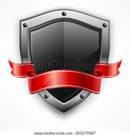 Metallic shield with red ribbon on white, vector illustration - stock vector