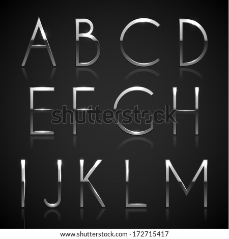 Metallic silver alphabet letters collection - eps10 - stock vector