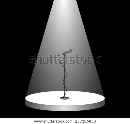 Metallic silver cable microphone standing on an empty stage under the white spotlight. beam of light on the podium in the dark, shines mic. vector art image illustration, isolated on black background - stock vector