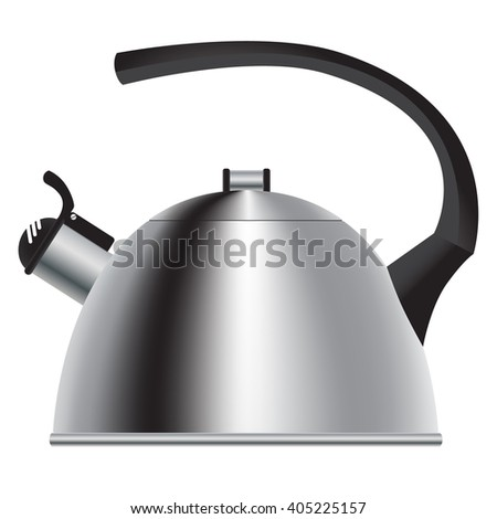 Metallic silver teapot with a whistle. Vector Image. - stock vector
